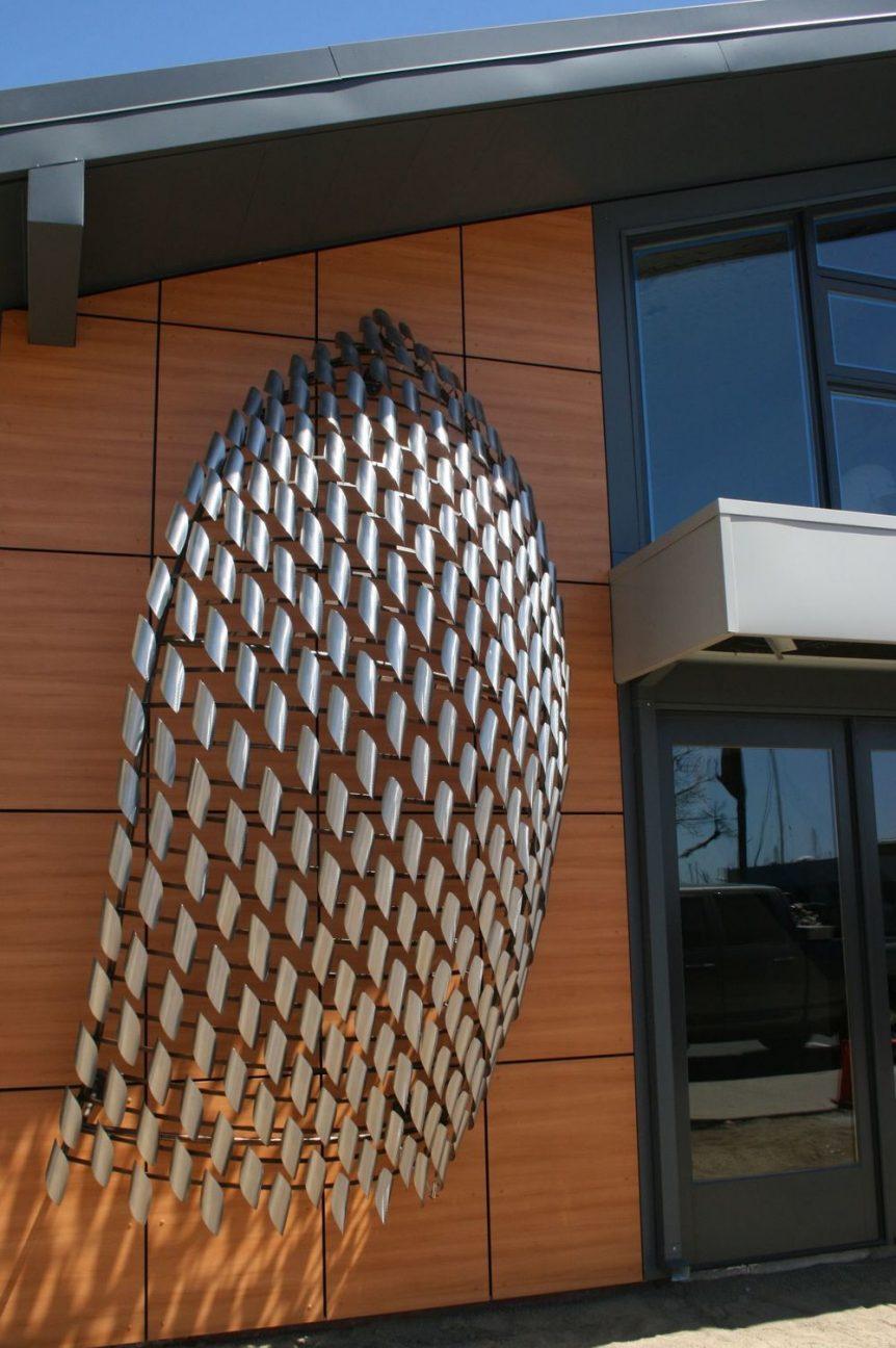 Billowing Bait up close Nielson Beaumont Marine Inc. artist Jon Koehler monumental art made of stainless steel