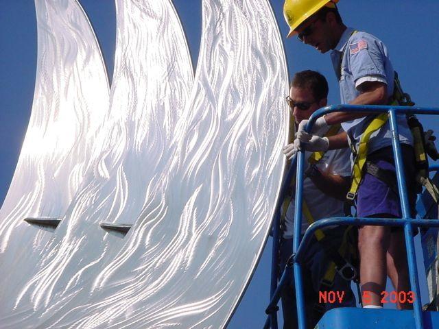 Evolution, monumental sculpture art, Jon Koehler, installed at the Port of San Diego
