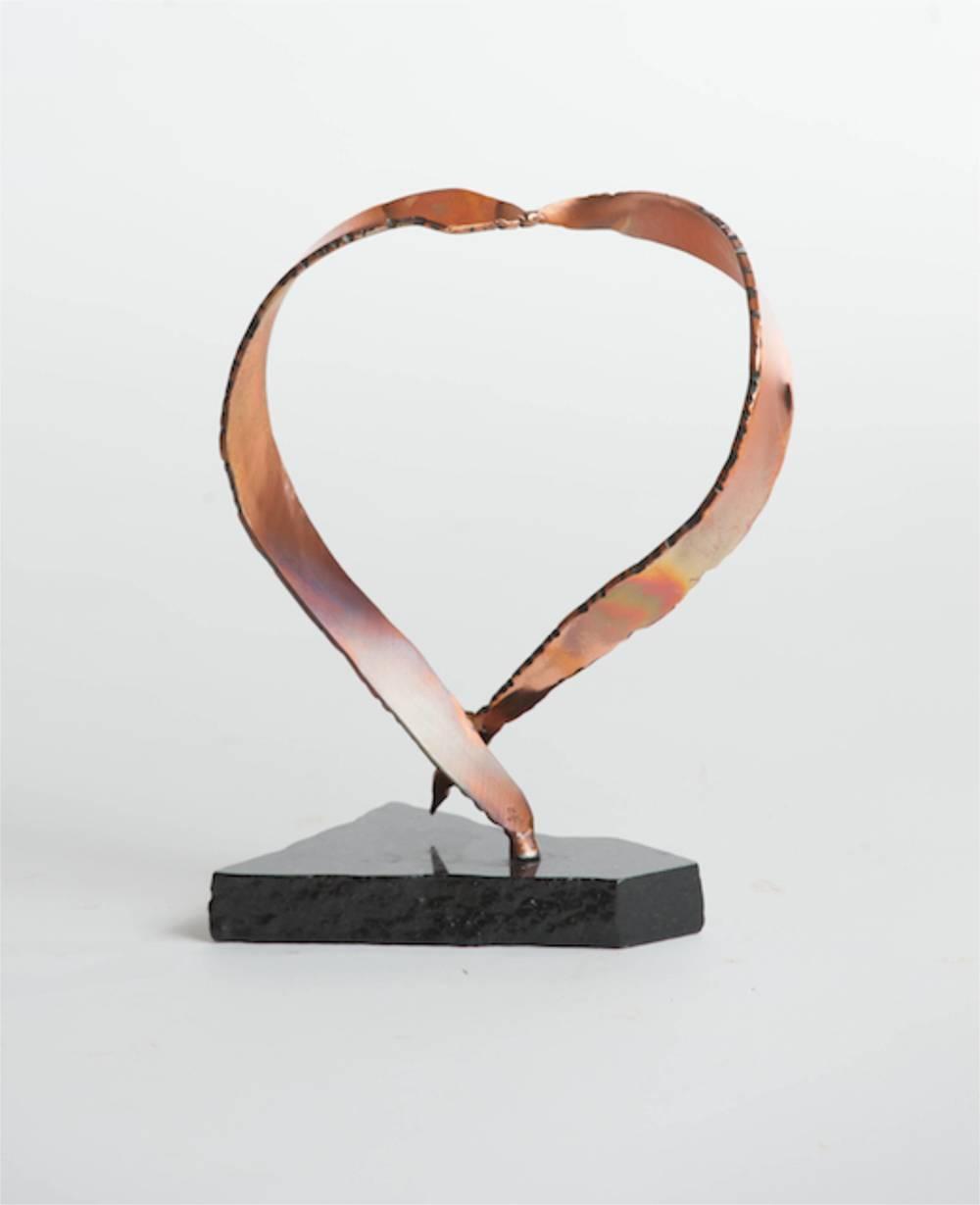 Timeless heart copper sculpture